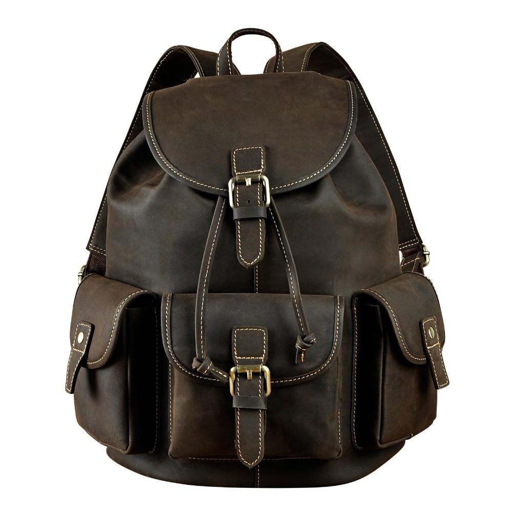 Men Original Leather Fashion Travel University College School Book Bag Designer Male Backpack Daypack Student Laptop