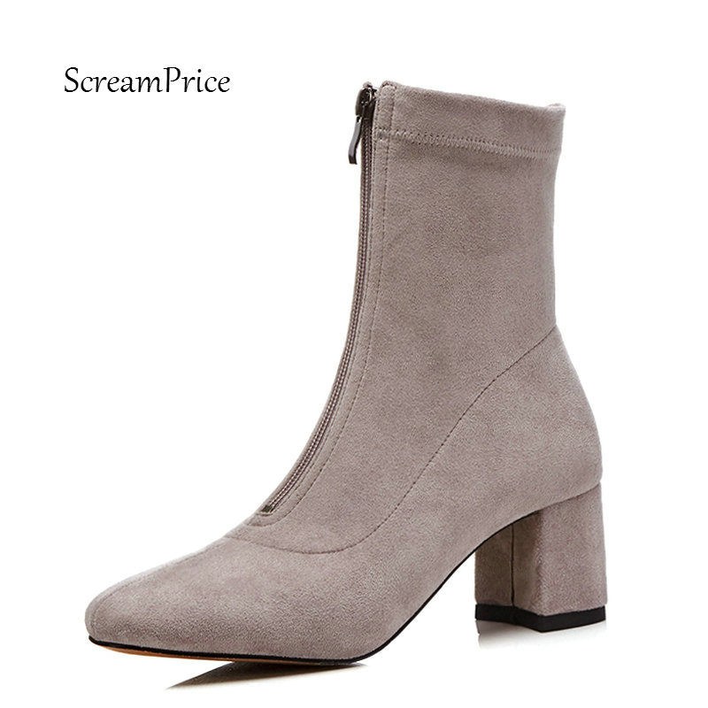 Ladies Suede Comfort Thick Heel Ankle Boots Fashion Zipper Square Toe Women Fall Winter Bootie Black Gray Dark Gray women suede comfortable square heel thigh boots fashion rivet winter elastic boots black gray dark gray