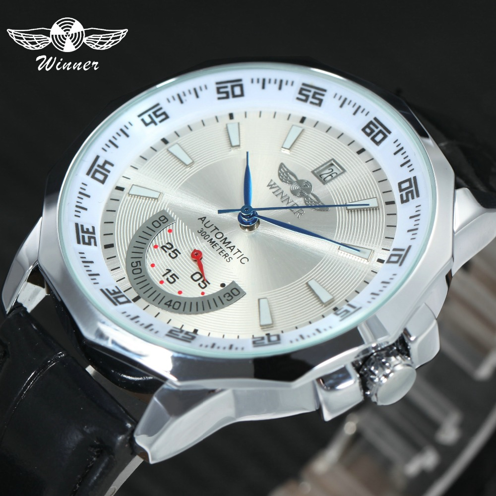 WINNER Casual Auto Mechanical Watch Men Leather Strap Date Display Sub Dial Fashion Unique Wrist Watches relogio masculinoWINNER Casual Auto Mechanical Watch Men Leather Strap Date Display Sub Dial Fashion Unique Wrist Watches relogio masculino