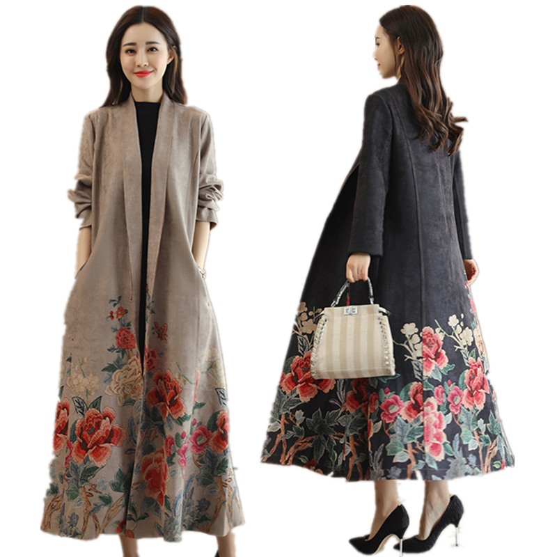 Spring and Autumn winter women's new national style fashion printing   trench   with a long paragraph Suede Slim   trench   coat TB994