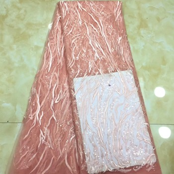 Madison African Lace Fabric 2019 High Quality Lace With Sequins Fashion French Nigerian Tulle Lace Fabric For Party Dress