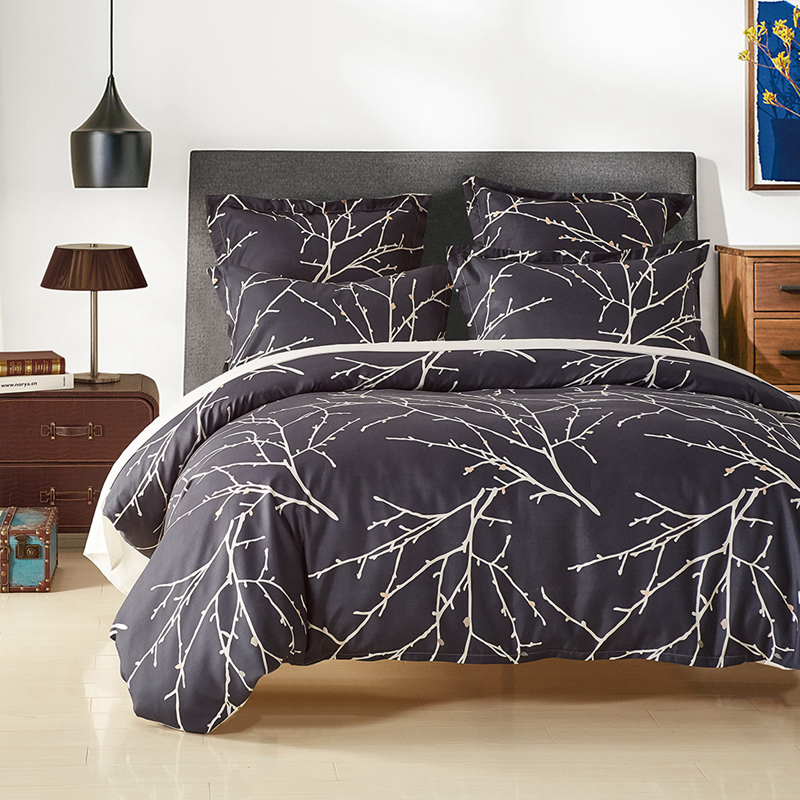 Mecerock Grinding Luxury Bedding Set Printed Branch Plant Duvet Cover Set with Pillowcase Double Europe Family Size Bedclothes