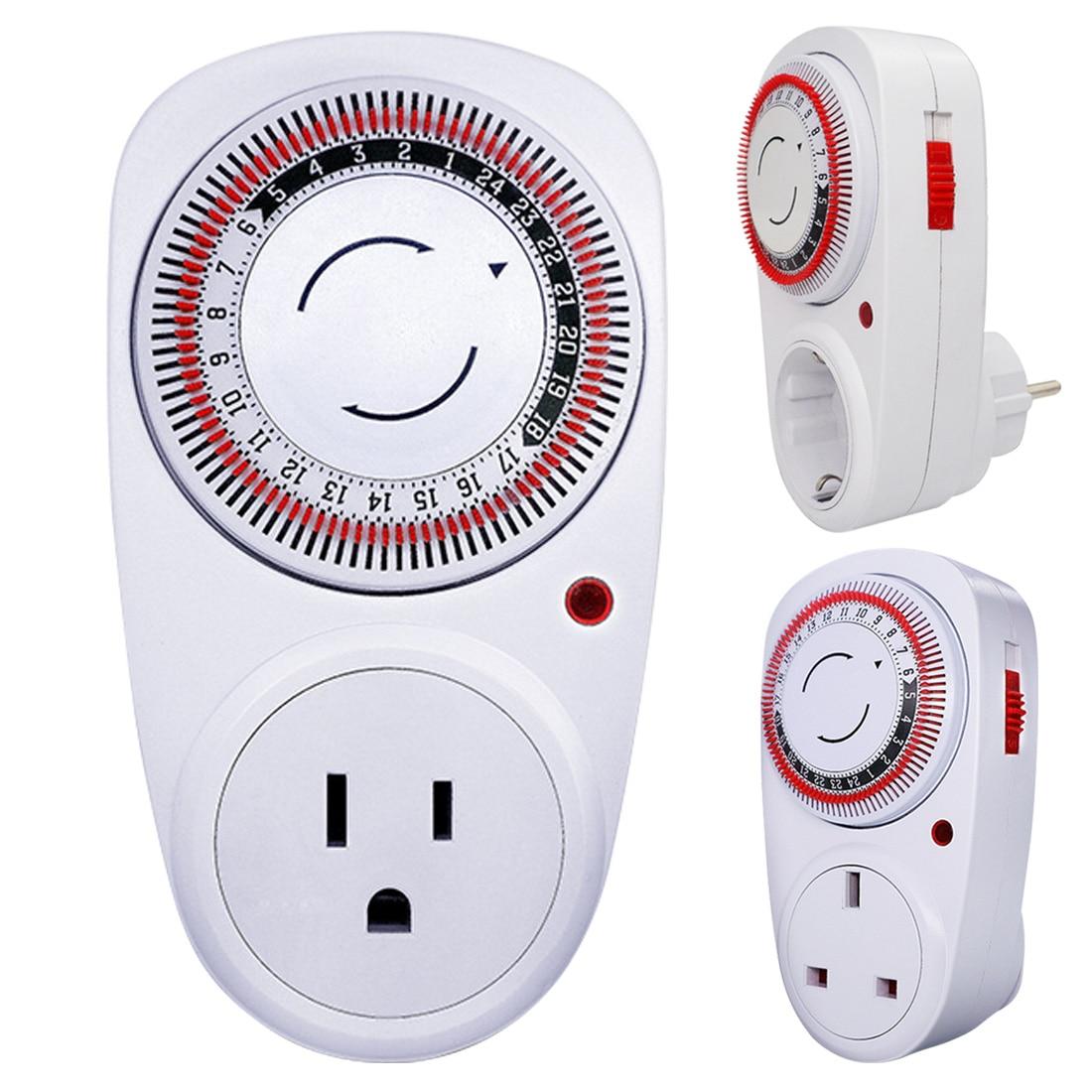 24 horas Plug-in Programa Elétrica Mecânica Timer Programável Interruptor De Alimentação 230V de Poupança De Energia DA UE/EUA/ UK Plug