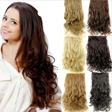 Long wavy 5 clips in extension,black/brown/blond synthetic hair extensions,kanekalon fiber hair perucas
