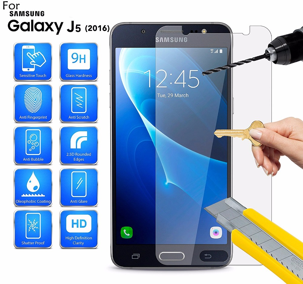 9H 0.26mm Explosion-proof Premium Tempered Glass For Samsung Galaxy J5 2016 J510F 5.2inch Screen Protector Film Case Sklo
