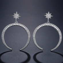 LISM New Grance Fashion Open Circle Big Dangle Earring Shiny Cubic Zircon For Bride Wedding Party Accessories цена 2017