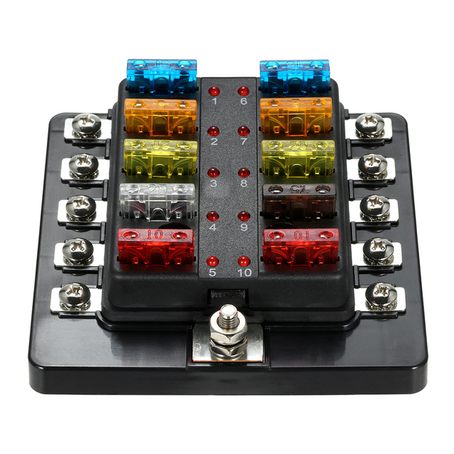 10 way blade fuse box with led indicator fuse block for car boat marine caravan 12v 24v in fuses from automobiles & motorcycles on aliexpress com  12v marine fuse box #15