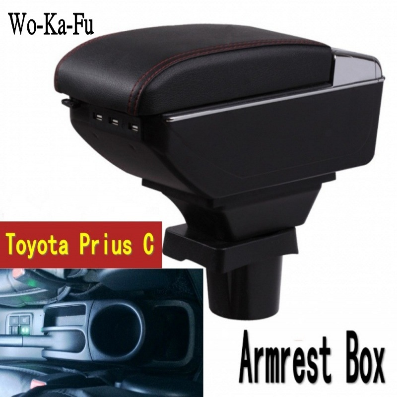 For ToyotaPrius C Prius C armrest box central Store content Storage box Aqua armrest box with cup holder ashtray USB interface car styling for toyota yaris l new vios fs armrest box central store content storage box with cup holder ashtray interface
