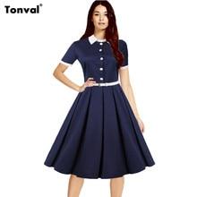 Tonval Womens S – 4XL Elegant Rockabilly Dress White Belt Turn Down Collar Vintage 50s Casual Plus Size Swing Summer Dresses