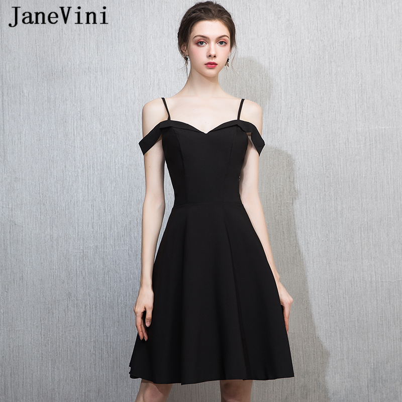 JaneVini Simple Black Satin Short   Bridesmaid     Dresses   for Women A Line Spaghetti Straps Backless Knee Length Maid of Honor Gowns