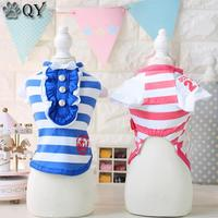 QY 2016 Pet Products Clothes For Dog Pet Dog Clothing Puppy Pet Apparel Striped Sailor Casual