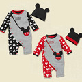 New Spring Autumn Winter Baby Rompers Boys Girs Cartoon Minnie Mickey Full Sleeve Jumpsuit+hat 100% Cotton Newborn Baby Clothing