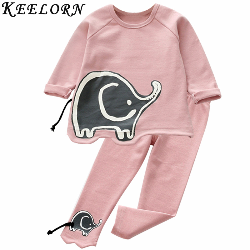 Keelorn Kids Girls Clothing Set Autumn Style Girls Clothes Long sleeves Elephant Appliques T-shirt+Pants 2 pcs Suit for children