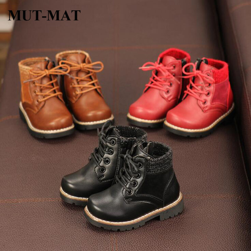 Kid Shoes Children's Shoes Autumn And Winter New Boys Girls Martin Boots  Knitted Boots Baby Soft Bottom Leather Boots