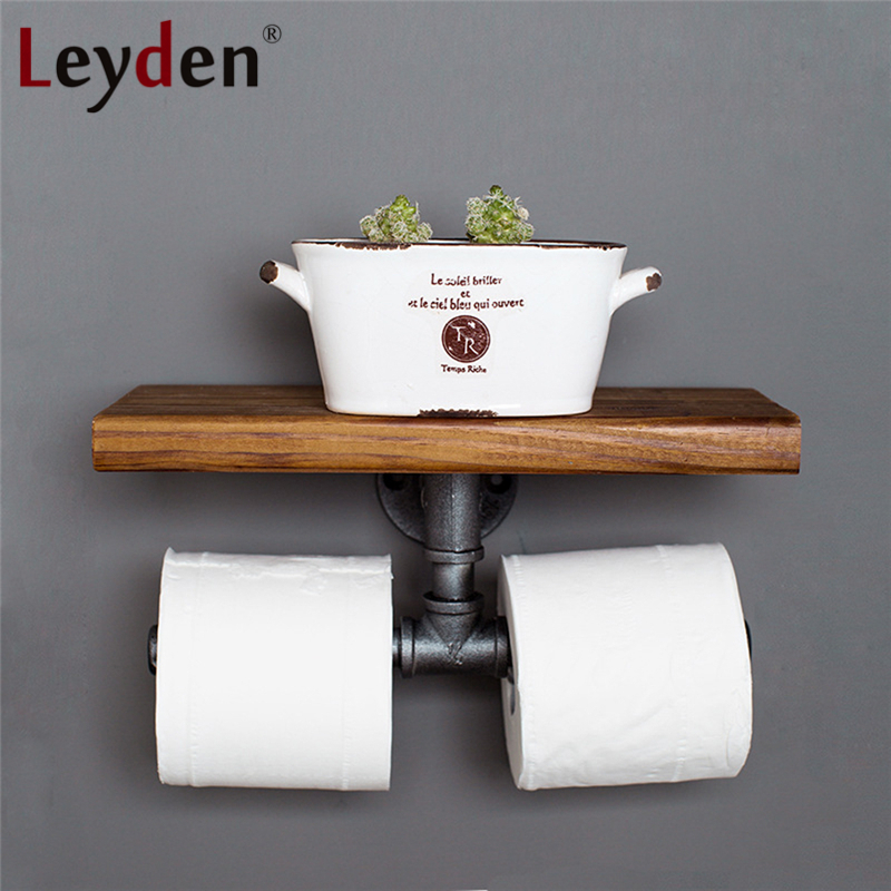 Leyden Iron Pipe Double Toilet Paper Holder Industrial Style Tissue Hanger With Shelf Wall Mounted Wooden Shelf Home Decoration free shipping wall mounted space aluminum black golden paper towel shelf phone toilet paper holder
