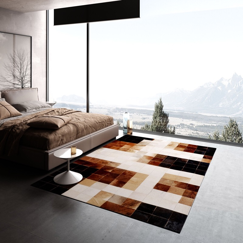 Us 195 0 European Style Bedroom Living Room Coffee Table Animal Cow Skin Rectangular Brown Grid Puzzle Hand Splicing Cowhide Rug Carpet In From
