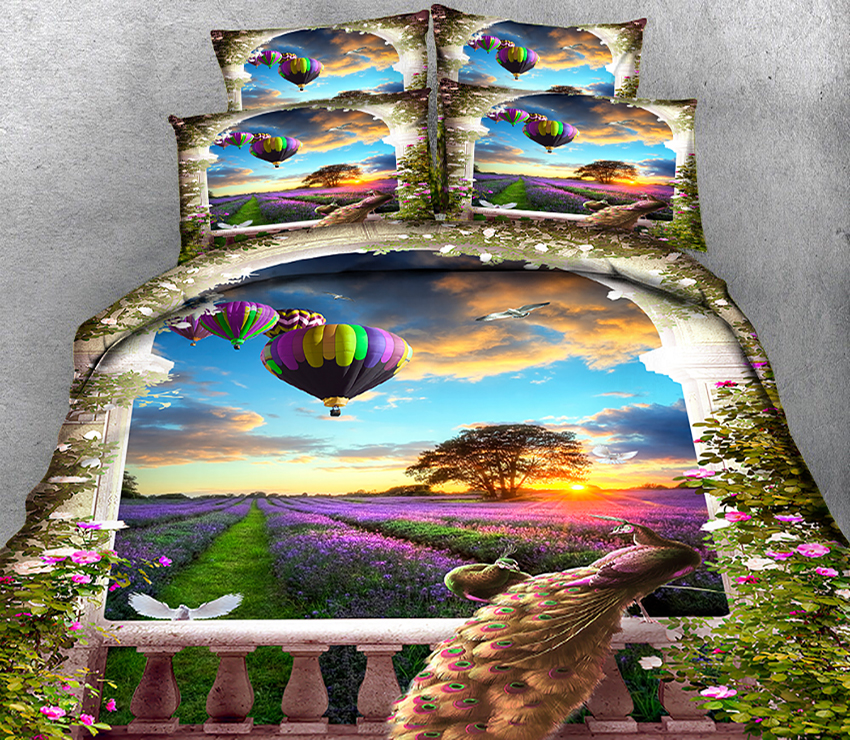 New Product 3D printed 4 Pcs Bedding Set Microfiber Bedclothes flowers Bed Linens Duvet Cover Set Bed Sheet Peacock pattern
