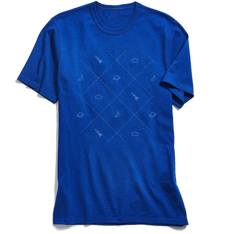 Simple Space Street Tshirts for Adult Cotton Summer Autumn T Shirt Summer Tops Shirts Short Sleeve Family Crewneck Simple Space blue