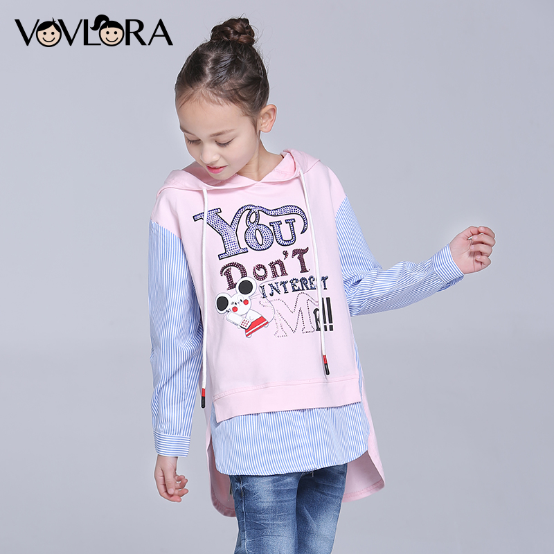Girls T shirts Hooded Cartoon Long Sleeve Kids T shirt Letter Knitted Cotton Children Clothes New Fashion Size 7 8 9 10 11 12 Y