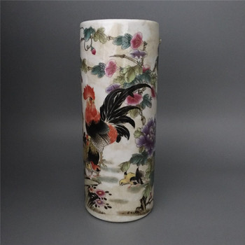 China old porcelain Coloured drawing Rooster Painting vase high 11.3 inch