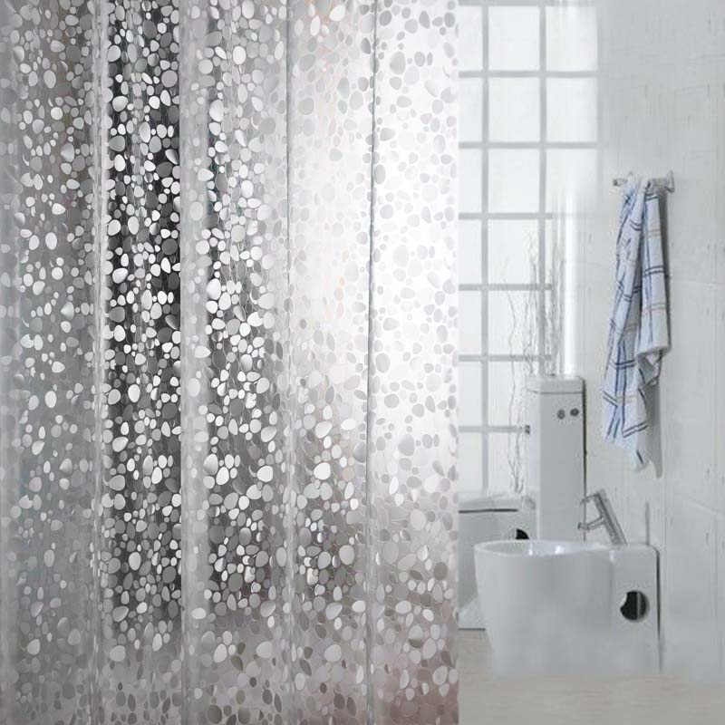 Comwarm Transparent Cobblestone Mosaic Pattern Bath Curtain 3D Embossing PVC Simple Handicraft Shower Curtain with 12 Hooks