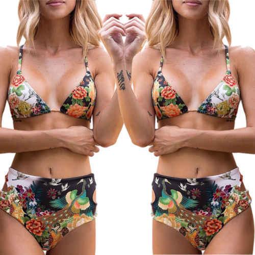 dc8d3ef35565e ... Sexy Floral Print High Waist Swimsuit 2018 Bikini Push Up Swimwear Women  Vintage Biquini Bathing Suit ...