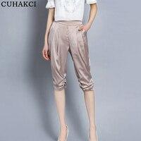 CUHAKCI Summer Harem Pants Women Calf Length Casual Pants Pocket High Quality Plus Size S 4XL
