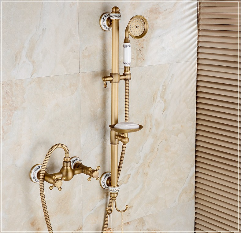 2016 New Antique Brass Finish Bathroom Hot and Cold Water Bath Shower Faucet Set /Wall Mounted Dual Handle bath tub Faucet2016 New Antique Brass Finish Bathroom Hot and Cold Water Bath Shower Faucet Set /Wall Mounted Dual Handle bath tub Faucet