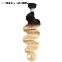 Rebecca Ombre Blonde Hair Weave Bundles Remy Brazilian Body Wave 1 Bundle Deals Human Hair T1b/613 10 to 30 Inch Free Shipping