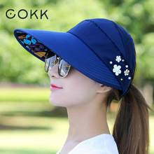 COKK Summer Hats For Women Foldable Sun Hat Female Flower Beach Hat Wide Brim Visor Chapeau Femme Adjustable Suncreen UV Protect(China)