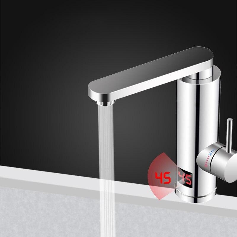 Kbxstart cuisine chauffe-eau électrique instantané robinet salle de bain robinet à LED luxueux en acier inoxydable 3 secondes pompe de chauffage rapide