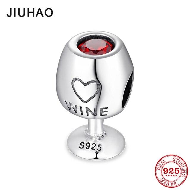2018 модные 925 пробы серебро ярко-красный CZ вина чашки мелким бисером подходят оригинальный Пандора браслет ювелирных изделий