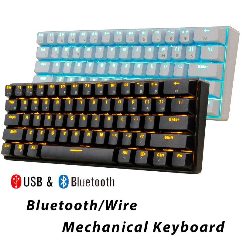 Claviers de jeu mécaniques Bluetooth mince 61 touches rvb simple rétro-éclairage rétro-éclairé soutien victoires/Android/iOS