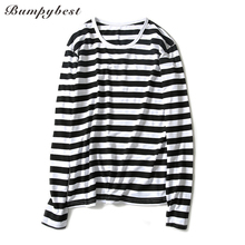 Bumpybeast 2018 Autumn striped print long-sleeved t-shirt men's bottoming shirt youth slim round neck mens tops tee Us (China)