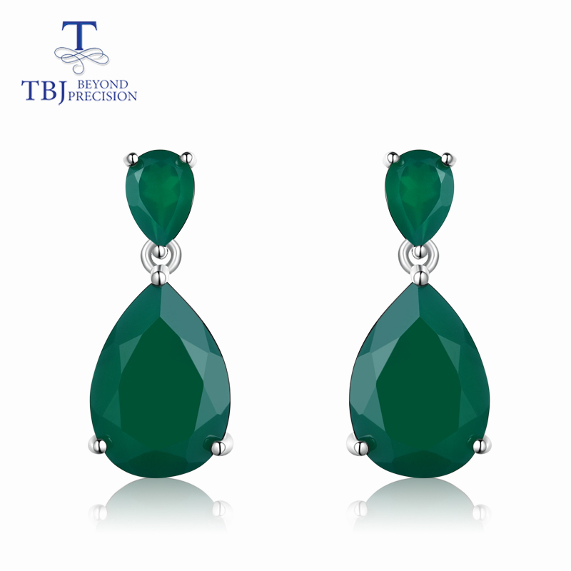 TBJ natural green agate gemstone Dangle Earrings in 925 Sterling Silver Fashion Beautiful Jewelry Gift For