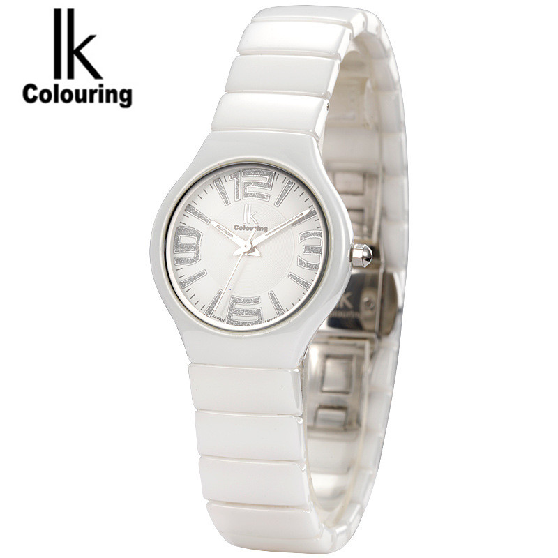 Luxury IK Coloring Luxury Womens Hardlex Crystal Ceramic Waterproof Wristwatch Orignial Box Free Ship