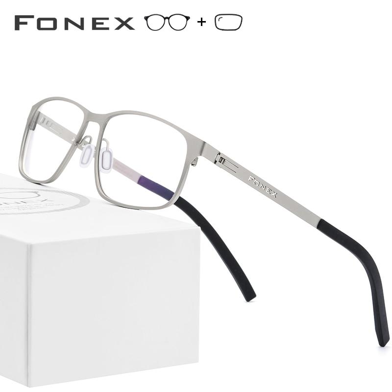 Alloy Optical Prescription Glasses Frame Men Ultralight Square Myopia Eyeglasses 2019 Male Metal Full Korea Screwless Eyewear