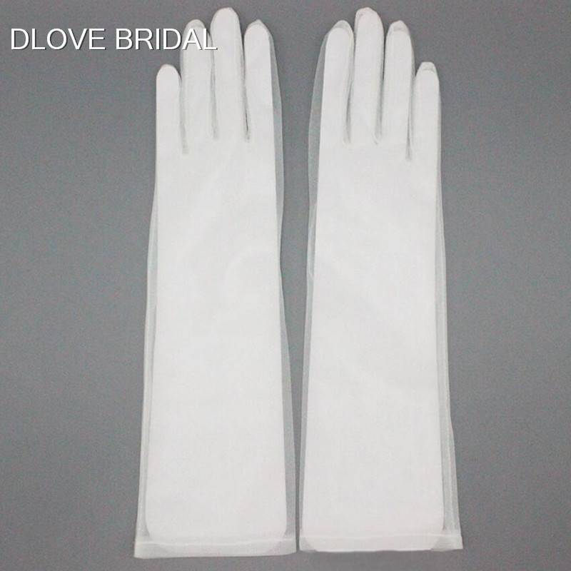 Elegant Sheer Tulle Gloves Wedding Bridal Party Gloves Full Finger Elbow Photo Shooting Accessory Halloween Gloves