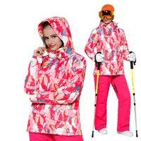 S XXL лыжный костюм женский зимний 2018 водостойкий утолщенный теплый Снежный костюм женские лыжные комплекты куртка лыжи и Сноубординг костюм
