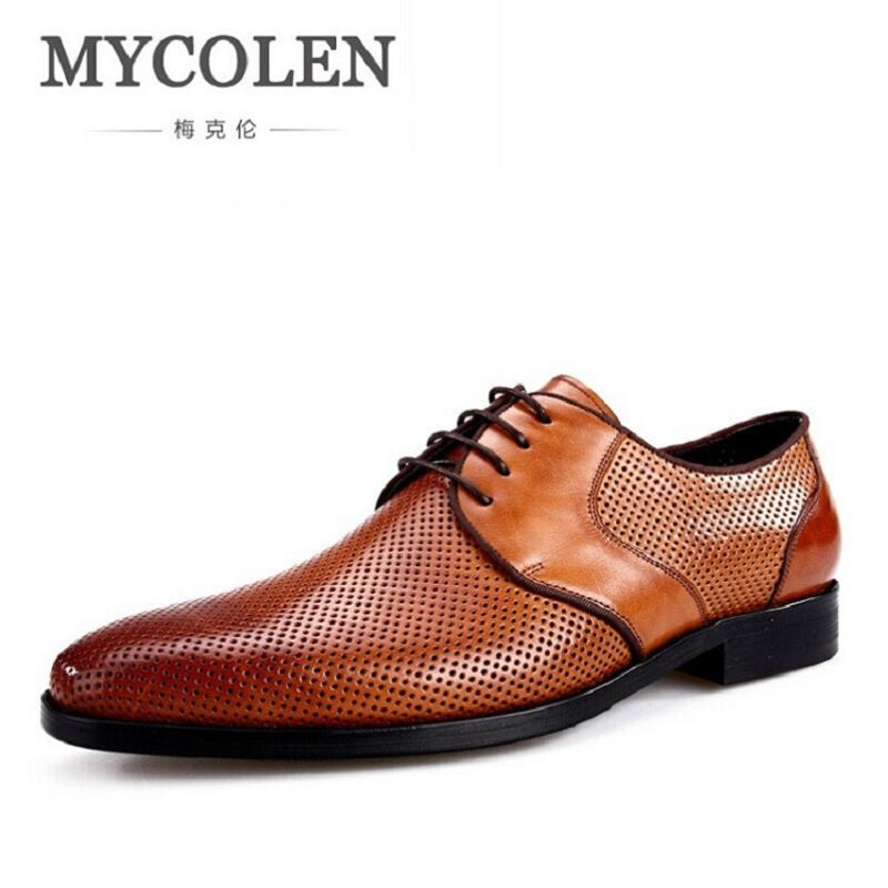 MYCOLEN 2017 Italian Round Toe Men Dress Shoes Oxford Luxury Brand Black Brown Mens Shoes Hollow Out Cowhide Formal Shoes Men mycolen mens shoes round toe dress glossy wedding shoes patent leather luxury brand oxfords shoes black business footwear