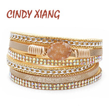 CINDY XIANG 3 Colors Available Natural Stone Leater Bracelets For Women And Men Unisex Cuff Bangles Fashion Twisted Bangle Gift
