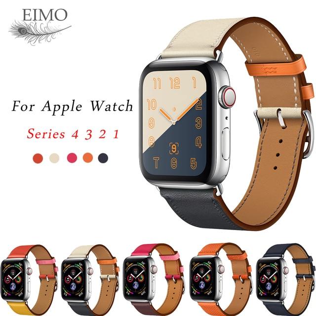 35085c3dd1d Faixa de relógio de couro única alça turnê para Apple 4 44mm 40 milímetros  pulseira pulseira