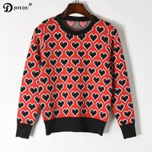 Cute Luxury Runway Design Sweater For Women 2018 New Spring Long Sleeve  Love Pattern Lady s Sweater Knit Pullover Korean Jumper 64ea5e96e