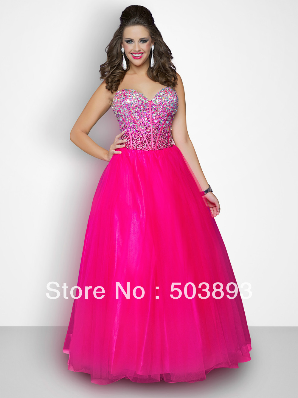 Free Shipping Hot Pink Plus Size Prom Dresses 2014 Crystal Prom Gown