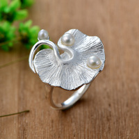Freshwater Pearls S925 Ring 2018 New Style Fashion Jewelry Rings for Women Ladies Rings Finger Adjustable Ring Anel Feminino