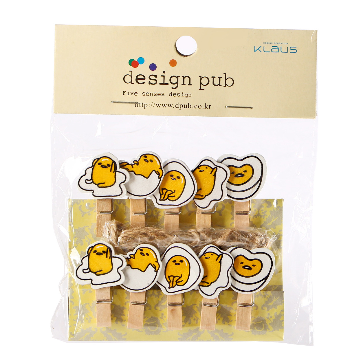 10 Pcs/pack Cute Novelty Gudetama Lazy Egg Hemp Rope Egg Style Wooden Clip Photo Paper Craft DIY Clips With Hemp Rope