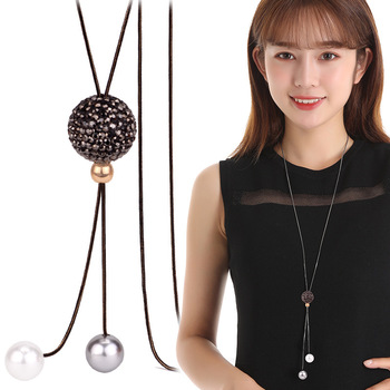 Elegant Ball Long Necklaces & Pendants 2019 Fashion Jewelry Personalized Korean Sweater Necklace Women Dress Accessories