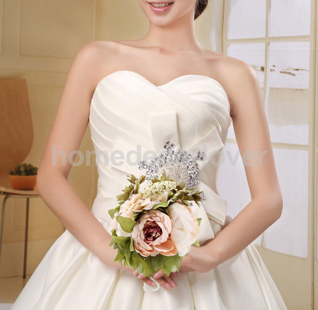 Bridal Bridesmaid Wedding Bouquet Decor Bride Hand Holding Champagne Flower