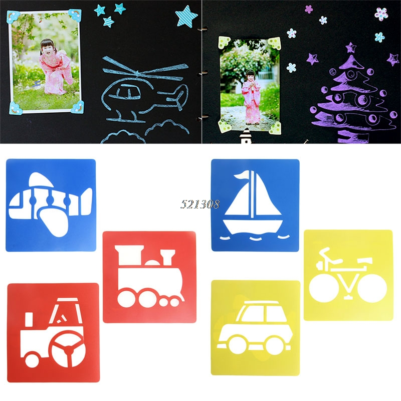 2017-Children-Transport-Shaped-Plastic-Painting-Drawing-Template-Stencil-Kids-Toy-6pcsset-FEB2330-2