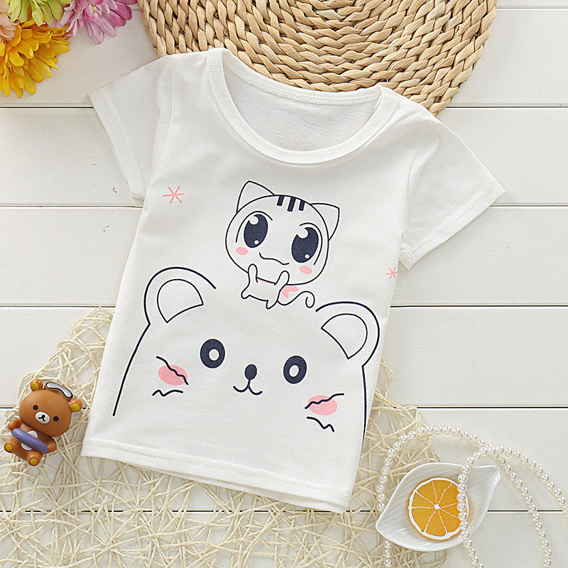 Lollas 2018 Summer Fashion Girls Boys T Shirt Short Sleeve New Soft Children's Shirt Cotton Tops Cartoon Clothes Kid T-Shirts